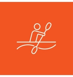 Man kayaking line icon vector