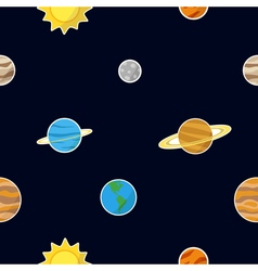 Seamless pattern with planets vector