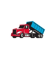Roll-off truck side up retro vector