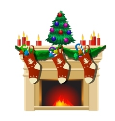 Fireplace with christmas tree and gifts socks vector