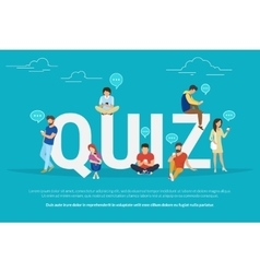 Quiz concept of young people using vector