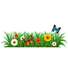 A garden with blooming flowers and butterflies vector