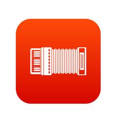 Accordion icon digital red vector