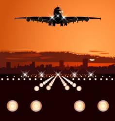 Airliner landing at skyline vector