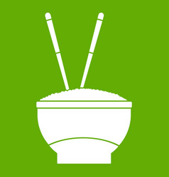 bowl of rice with chopsticks icon green vector image