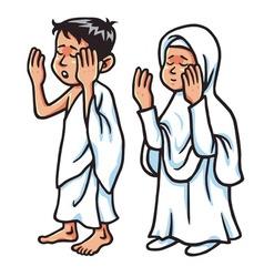 Boy and girl hajj praying vector