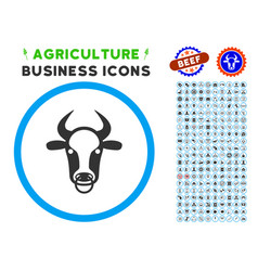 bull ring rounded icon with set vector image vector image