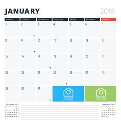 Calendar planner for january 2018 print design vector