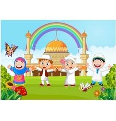 Cartoon happy kid muslim with rainbow vector