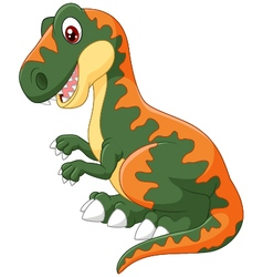 Cartoon happy tyrannosaurus vector