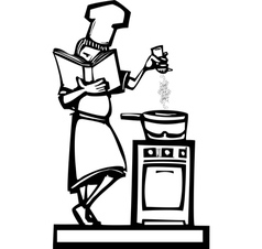 Chef with cookbook vector