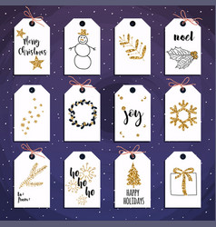 Christmas gift tags set with gold glitter vector