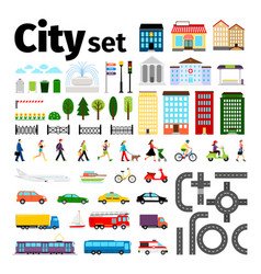 city elements isolated on white background urban vector image