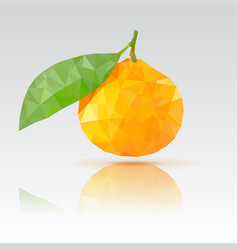 Clementine with leaf polygonal vector