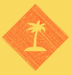 Coconut palm tree sign red scribble icon vector
