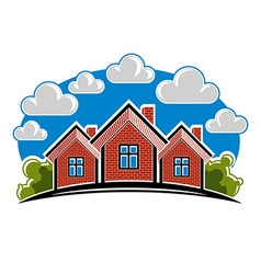 Colorful of country houses created with bric vector