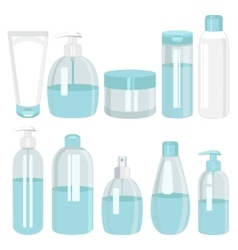 Cosmetics bottle products set vector
