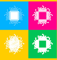 cpu microprocessor four styles of vector image