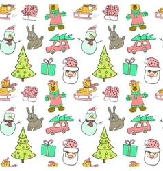 Cute Christmas and New Year seamless patternCat vector image