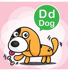 D dog color cartoon and alphabet for children to vector