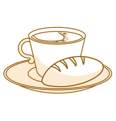 Dish with delicious bread and coffee cup vector