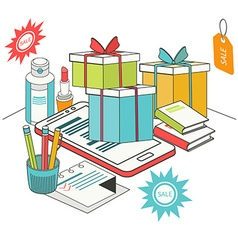 Flat 3d isometric mobile shopping vector image