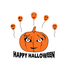 happy halloween pumpkin balloons vector image