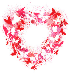 Heart shaped frame made of spray and butterflies vector