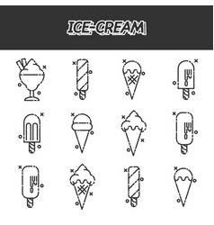 ice-cream flat icons set vector image