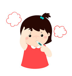 little girl got high temperature cartoonxa vector image