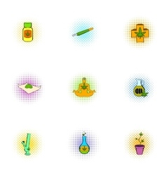 Marijuana icons set pop-art style vector