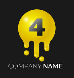 number four splash logo yellow dots and bubbles vector image vector image