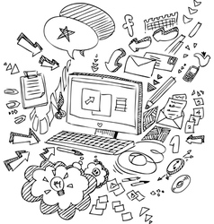 Pc and office objects vector