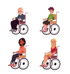 People in wheelchairs - old man women teenage vector image vector image