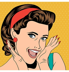 Popart retro woman in comics style vector