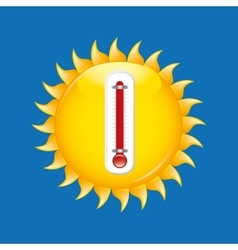 Red thermometer icon sunny weather meteorology vector