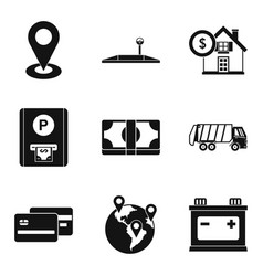 Relocation service icons set simple style vector