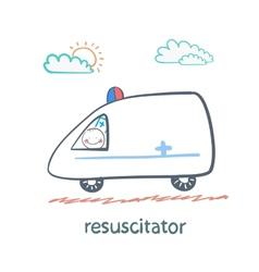 Resuscitator rides in the ambulance vector
