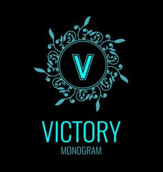 round emblem with the letter v on black background vector image vector image