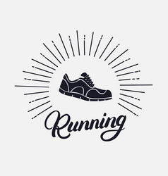 Running hand written lettering with running shoes vector