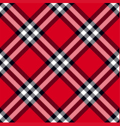 scottish plaid in red black white vector image
