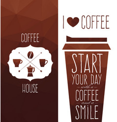 set coffee design elements vector image