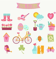 Set of 16 flat colorful spring icons vector