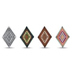 Set of original drawing tribal doddle rhombus vector
