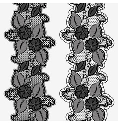 Set of seamless floral lace ribbons Vertical vector image vector image