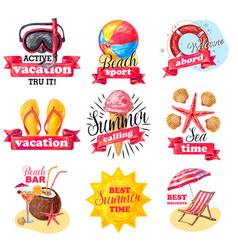 Sketch colored summer vacation labels set vector