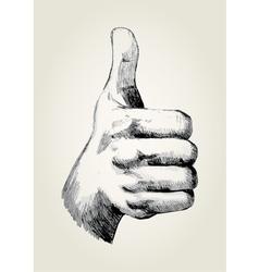 Sketch of a thumb up vector
