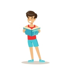 Sportive boy who loves to read with vector