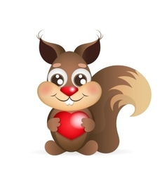 squirrel holding heart vector image vector image