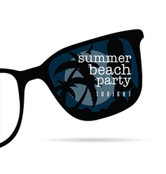 Sunglasses with summer beach party and girl on it vector